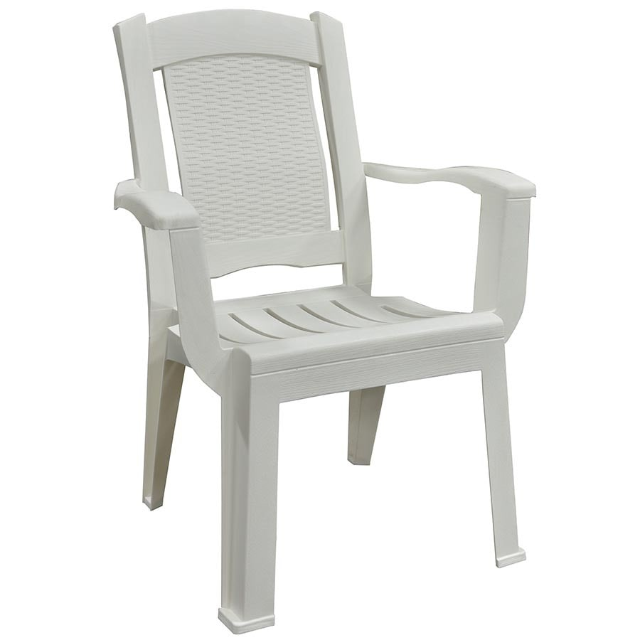 shop adams mfg corp white resin stackable patio dining chair at. Black Bedroom Furniture Sets. Home Design Ideas