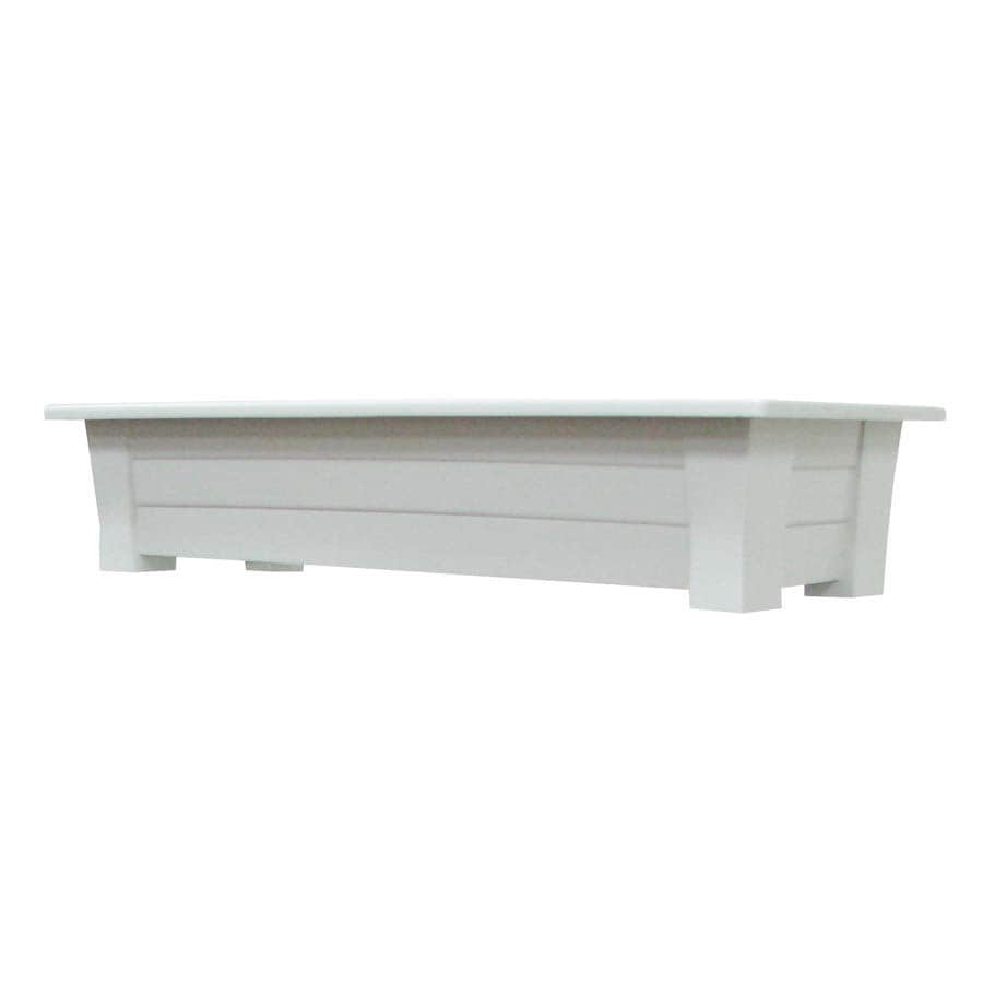 Adams Mfg Corp 36-in x 8-in White Resin Planter