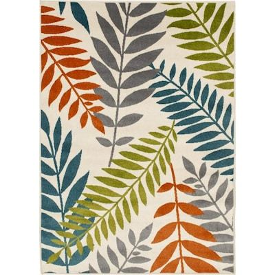 Natco Courtyard 7 X 10 Snow Indoor Outdoor Floral Botanical Tropical Area Rug In The Rugs Department At Lowes Com