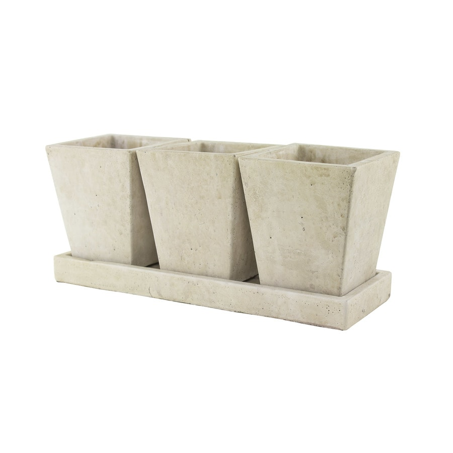 Syndicate Home & Garden 3.5-in x 4.8-in Weathered Slate Concrete Planter