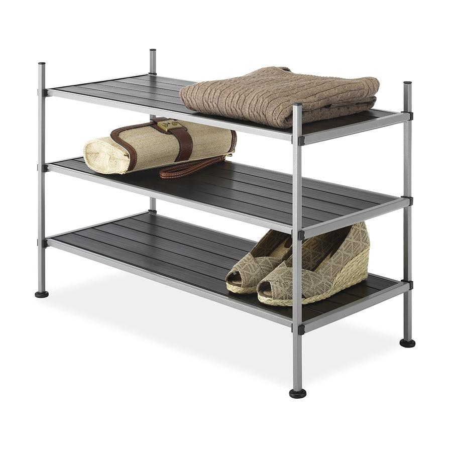 Whitmor 17-in H x 25.63-in W x 12.5-in D 3-Tier Plastic Freestanding Shelving Unit