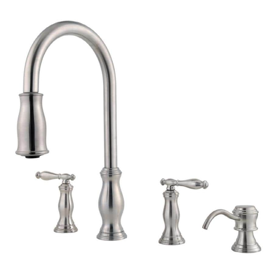 2 handle pull down kitchen faucet shop pfister hanover stainless steel 2 handle pull 26286