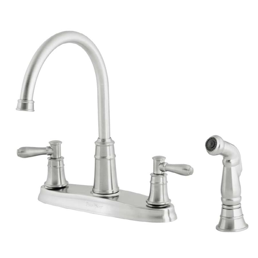 price pfister harbor stainless steel 2 handle high arc kitchen faucet with side spray - Price Pfister Kitchen Faucet