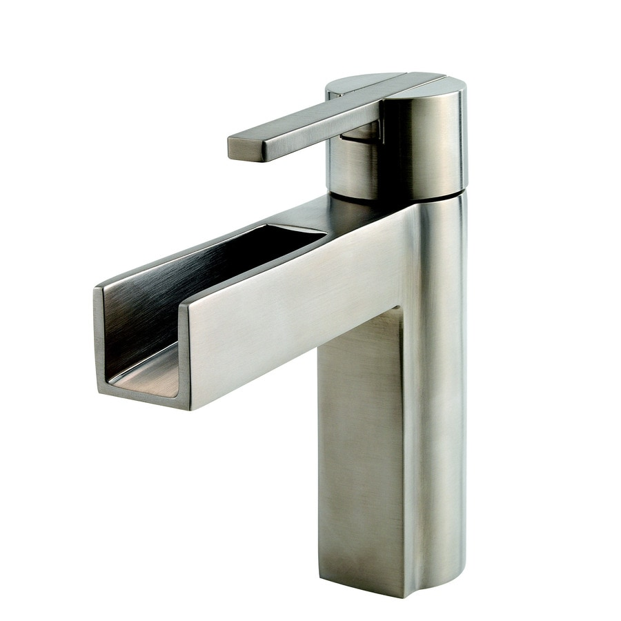 Pfister Vega Brushed Nickel 1-Handle 4-in Centerset WaterSense Bathroom Faucet (Drain Included)