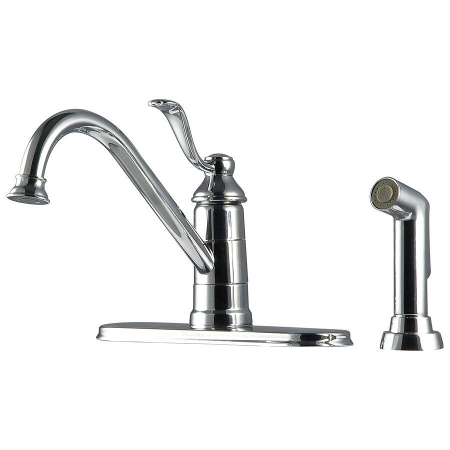 Pfister Portland Polished Chrome 1-Handle Low-Arc Kitchen Faucet with Side Spray
