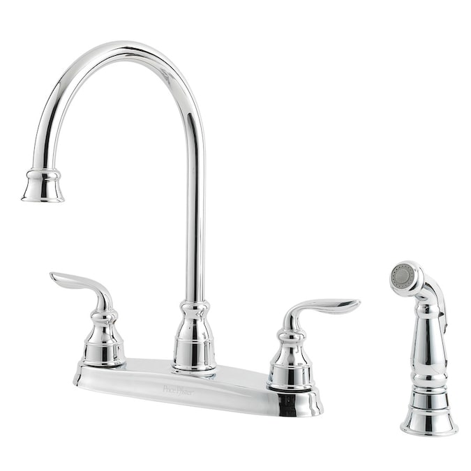 Pfister Avalon Polished Chrome 2 Handle Deck Mount High Arc Handle Lever Kitchen Faucet Deck Plate Included In The Kitchen Faucets Department At Lowes Com