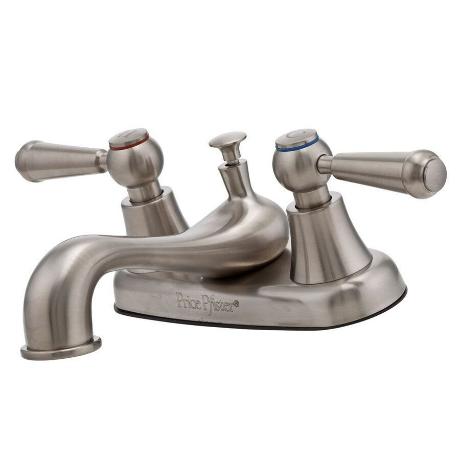 Shop Pfister Pfirst Brushed Nickel 2 Handle 4 In Centerset Watersense Bathroom Faucet Drain