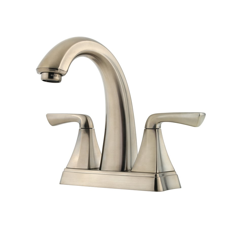 Shop pfister selia brushed nickel 2 handle 4 in centerset for Bathroom faucets lowes