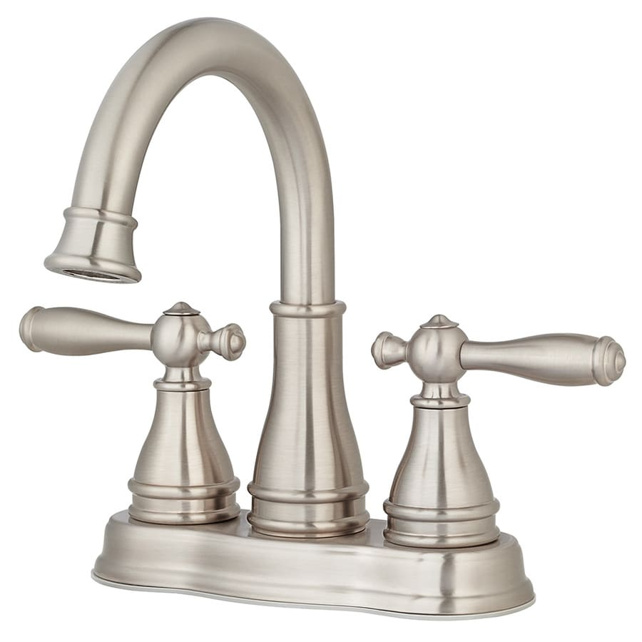 Shop pfister sonterra brushed nickel 2 handle 4 in for Bathroom faucets lowes