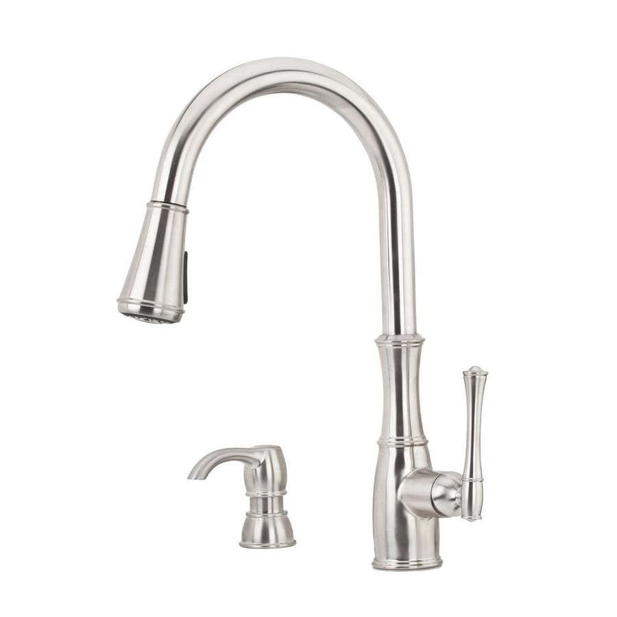 Pfister Wheaton Stainless steel 1-handle Pull-down Deck Mount Kitchen Faucet