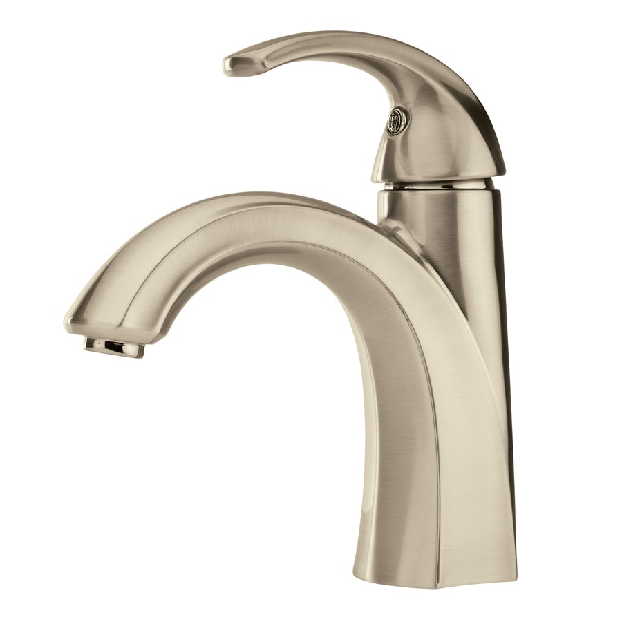 Pfister Selia Brushed Nickel 1-Handle Single Hole/4-in Centerset WaterSense Bathroom Faucet (Drain Included)