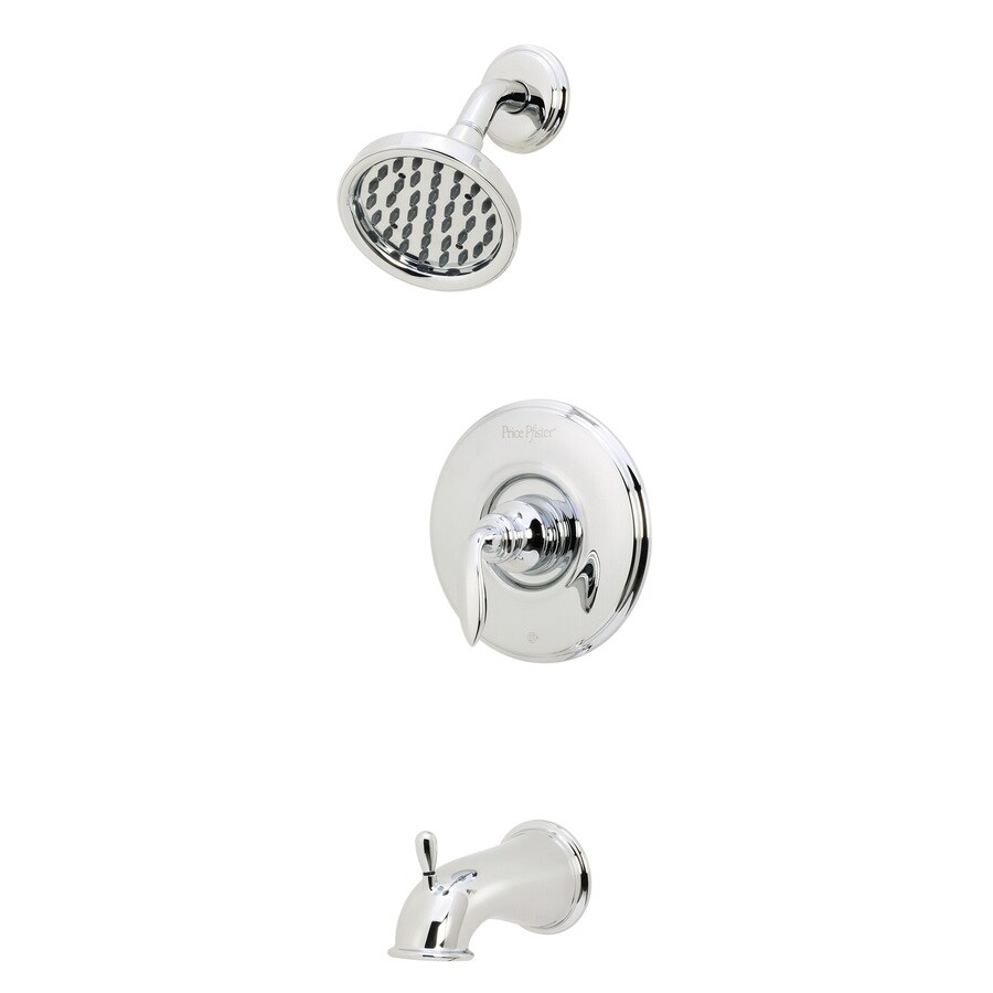 Pfister Avalon Polished Chrome 1-Handle WaterSense Bathtub and Shower Faucet Trim Kit with Rain Showerhead