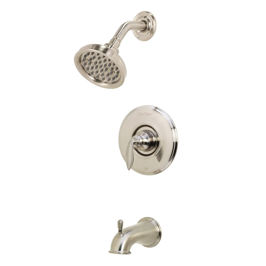 Pfister Avalon Brushed Nickel 1-Handle WaterSense Bathtub and Shower Faucet Trim Kit with Rain Showerhead