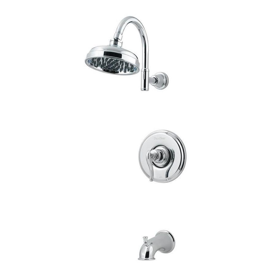 Pfister Ashfield Polished Chrome 1-Handle WaterSense Bathtub and Shower Faucet Trim Kit with Rain Showerhead