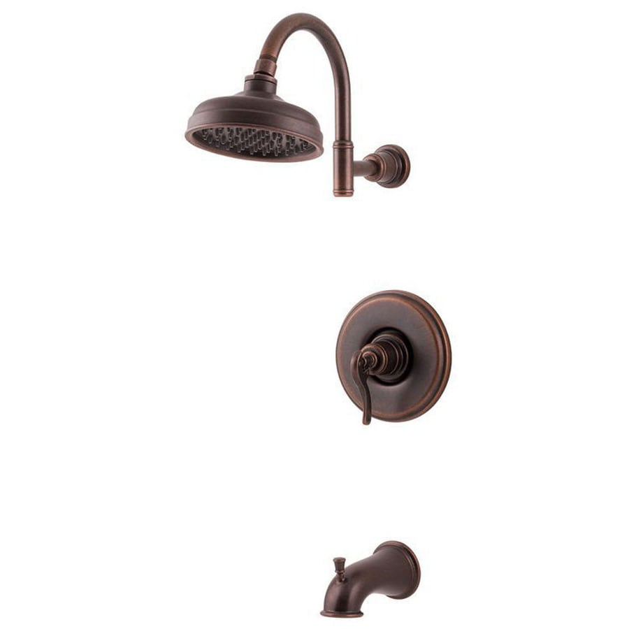 Pfister Ashfield Rustic Bronze 1-Handle WaterSense Bathtub and Shower Faucet Trim Kit with Rain Showerhead