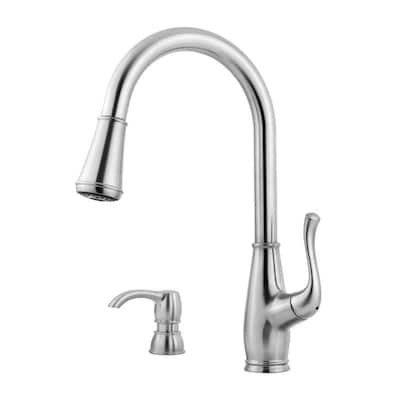Soap Dispenser Kitchen | Sedgwick 1 Handle Pull Down Kitchen Faucet With Soap Dispenser In Stainless Steel