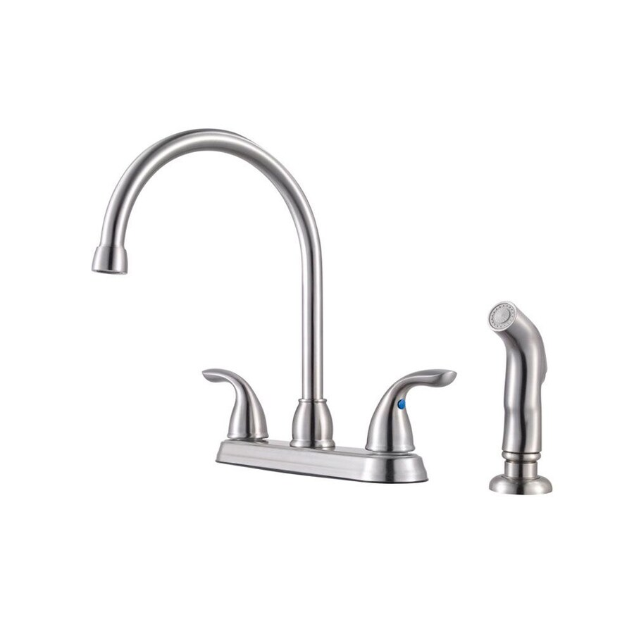 Pfister Pfirst Stainless Steel 2-Handle High-Arc Sink/Counter Mount Traditional Kitchen Faucet Side Spray Included