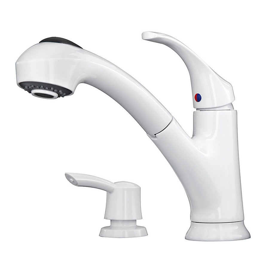 white pull out kitchen faucet pfister shelton white 1 handle deck mount pull out kitchen faucet at lowes com 204