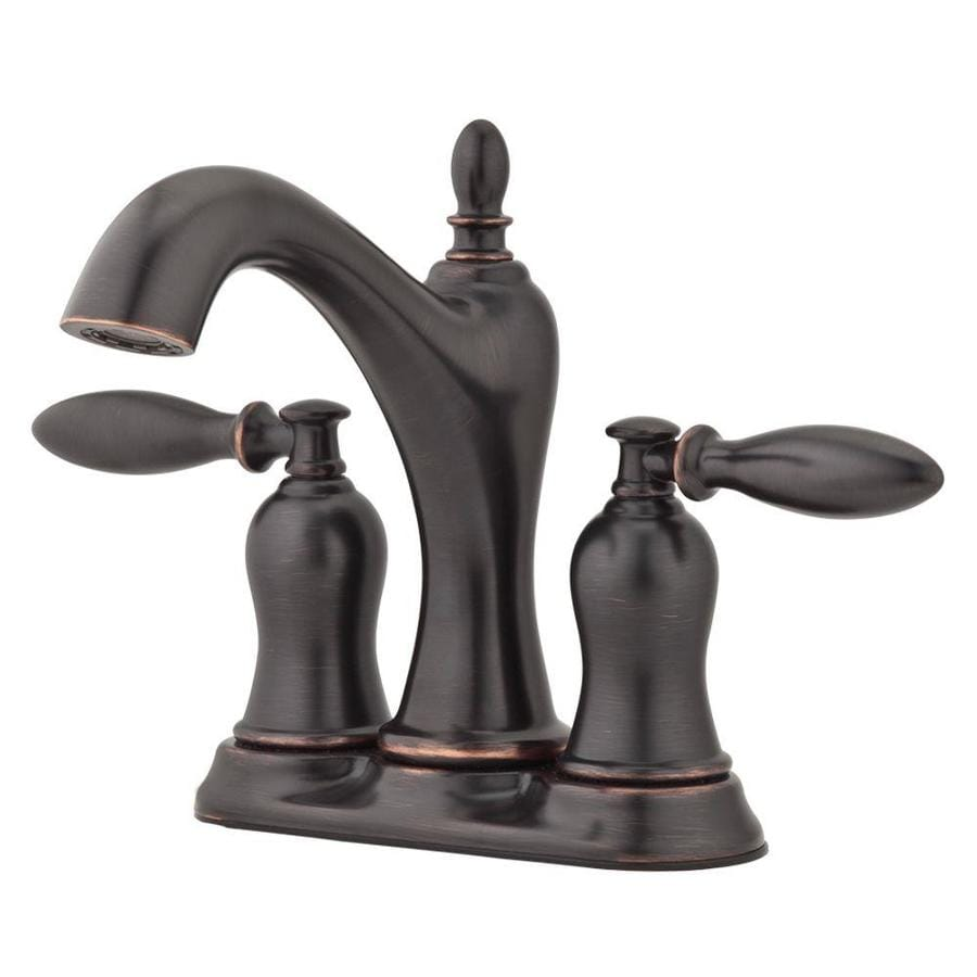 Shop pfister arlington tuscan bronze 2 handle 4 in for Bathroom faucets lowes