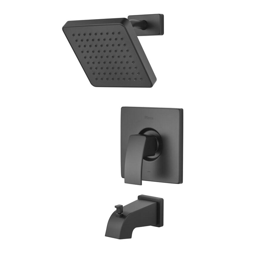 Pfister Kenzo Matte Black 1-Handle WaterSense Bathtub and Shower Faucet Trim Kit with Rain Showerhead