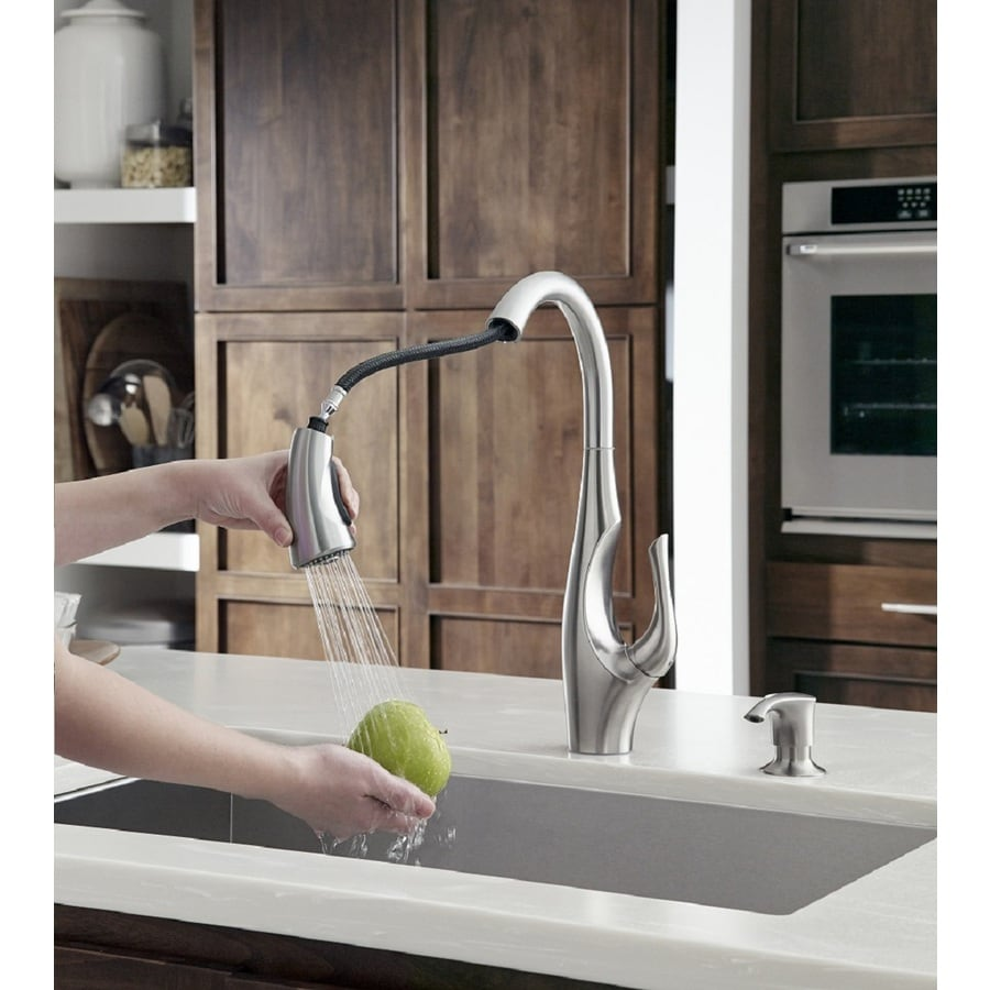 Pfister Indira Stainless Steel 1 Handle Deck Mount Pull Down Residential Kitchen Faucet In The Kitchen Faucets Department At Lowes Com