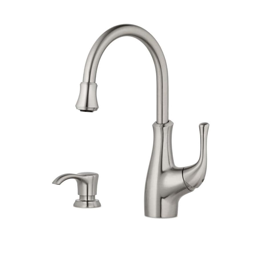 Pfister Vosa Stainless Steel 1-Handle Deck Mount High-Arc Bar and Prep Faucet