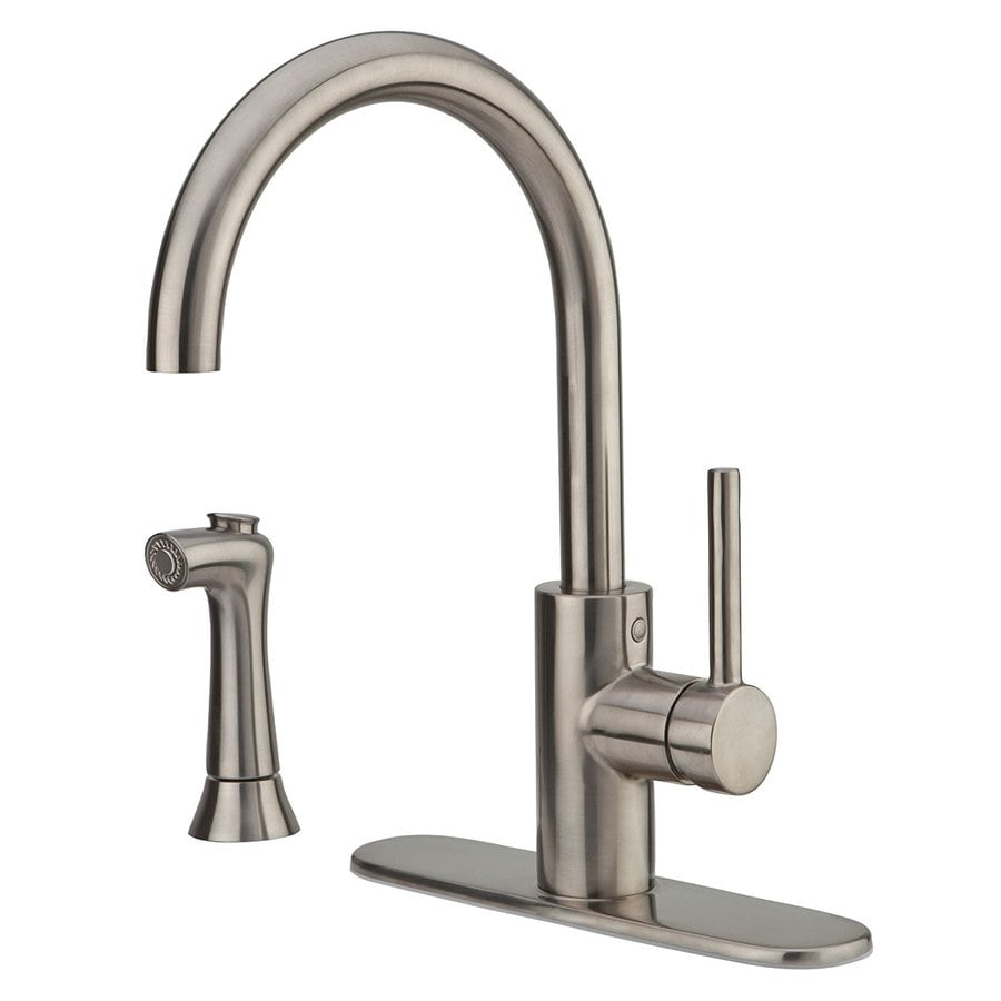Pfister Solo Stainless Steel 1 Handle High Arc Kitchen Faucet With Side Spray