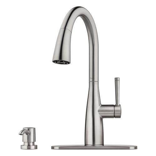 Pfister Raya Stainless Steel 1 Handle Deck Mount Pull Down Handle Kitchen Faucet Deck Plate Included In The Kitchen Faucets Department At Lowes Com