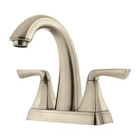 Pfister Selia Brushed Nickel 2-Handle 4-in Centerset WaterSense Bathroom Sink Faucet with Drain