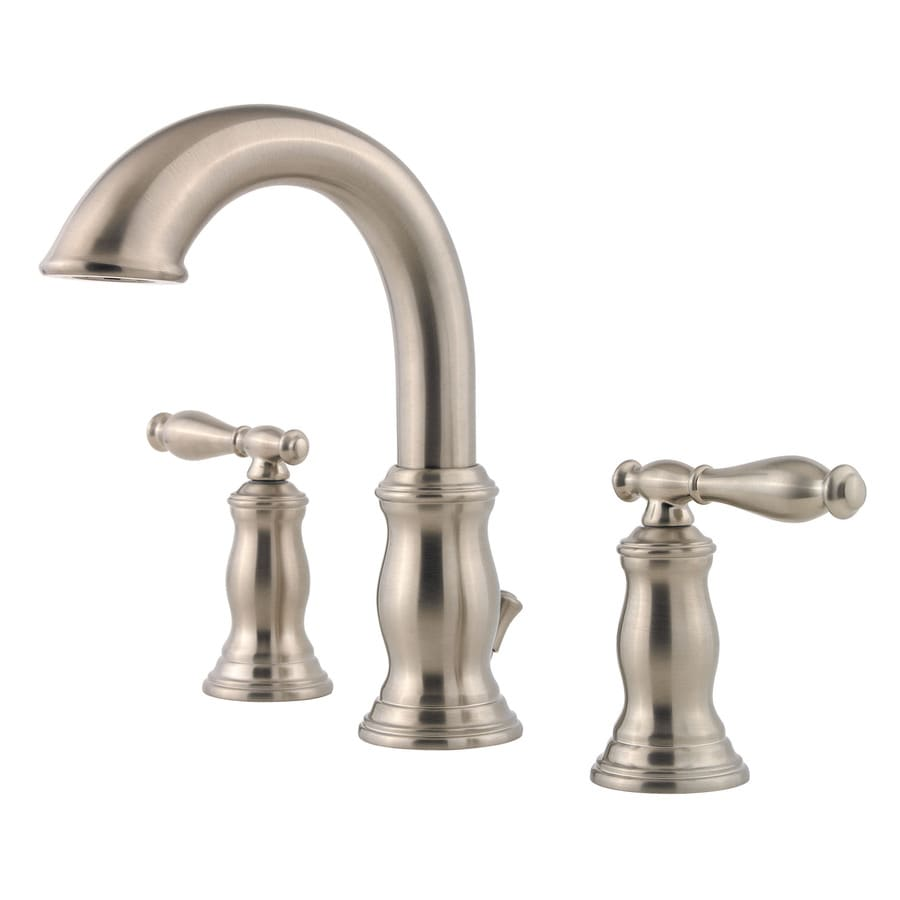 Pfister Hanover Brushed Nickel 2-Handle Widespread WaterSense Bathroom Faucet (Drain Included)