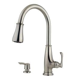 Ainsley 1-Handle Pull-Down Kitchen Faucet with Soap Dispenser in Stainless Steel