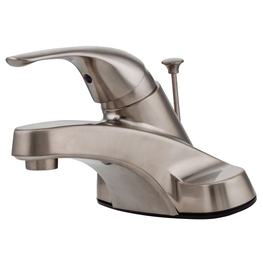 Pfister Pfirst Brushed Nickel 1-Handle 4-in Centerset WaterSense Bathroom Faucet (Drain Included)