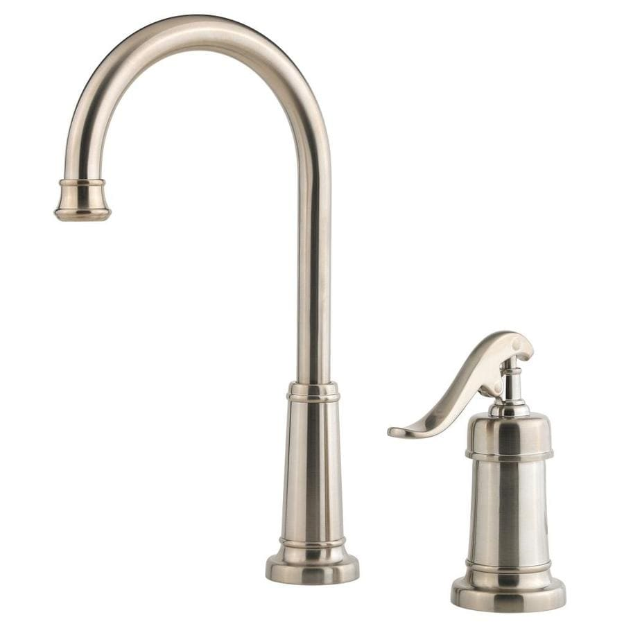 Shop Pfister Ashfield Brushed Nickel 1 Handle Deck Mount High Arc Bar And Prep Faucet At