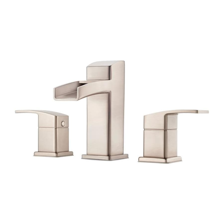 Bathroom Faucets Brushed Nickel Widespread : Kenzo Brushed Nickel 2-Handle Widespread WaterSense Bathroom Faucet ...