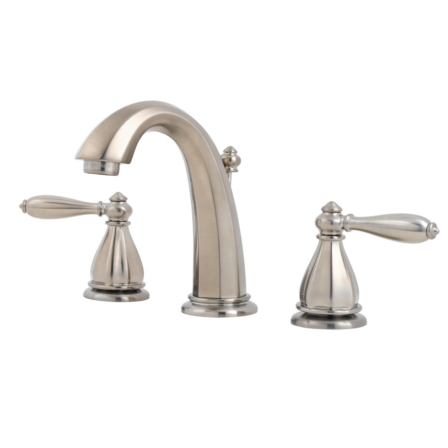 Pfister Portola Brushed Nickel 2-Handle Widespread WaterSense Bathroom Faucet (Drain Included)