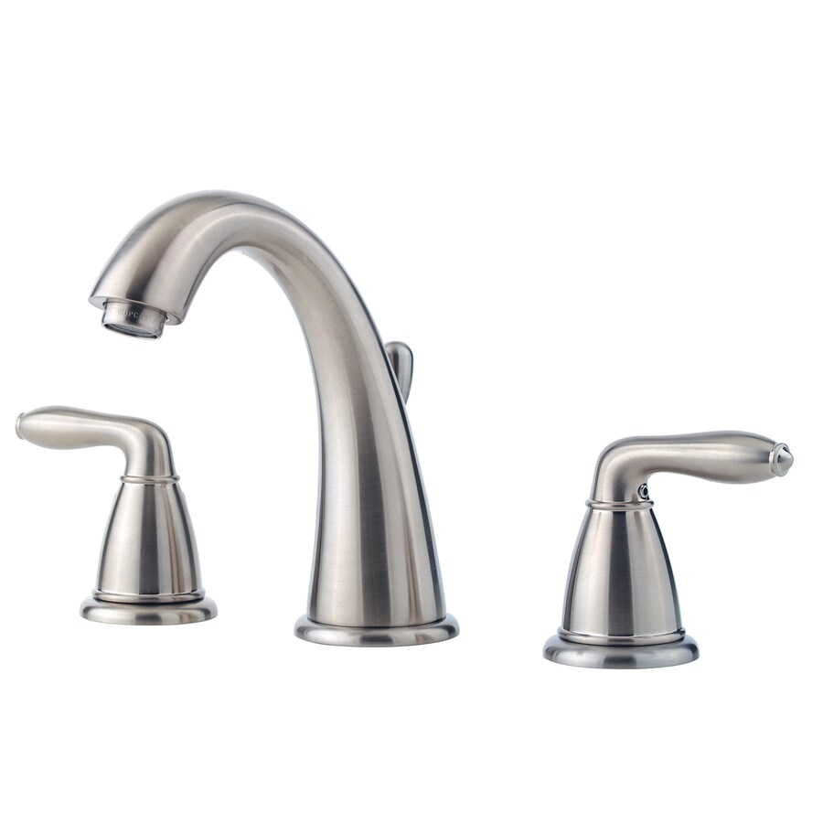 Pfister Serrano Brushed Nickel 2-Handle Widespread WaterSense Bathroom Faucet (Drain Included)