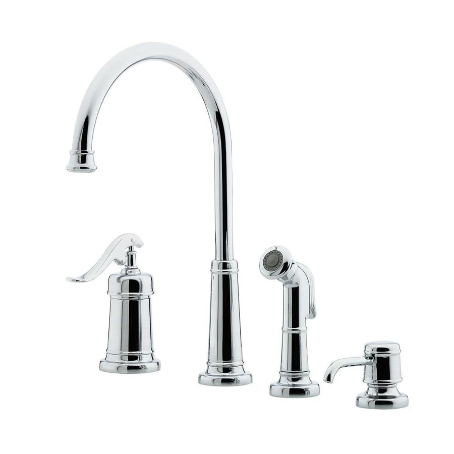 Shop Pfister Ashfield Polished Chrome 1 Handle Deck Mount High Arc Kitchen Faucet At