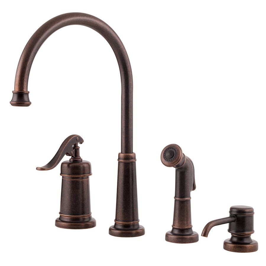 Shop Pfister Ashfield Rustic Bronze 1 Handle High Arc Kitchen Faucet At