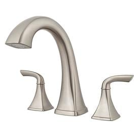 Pfister Bronson Brushed Nickel 2 Handle Adjule Deck Mount Bathtub Faucet