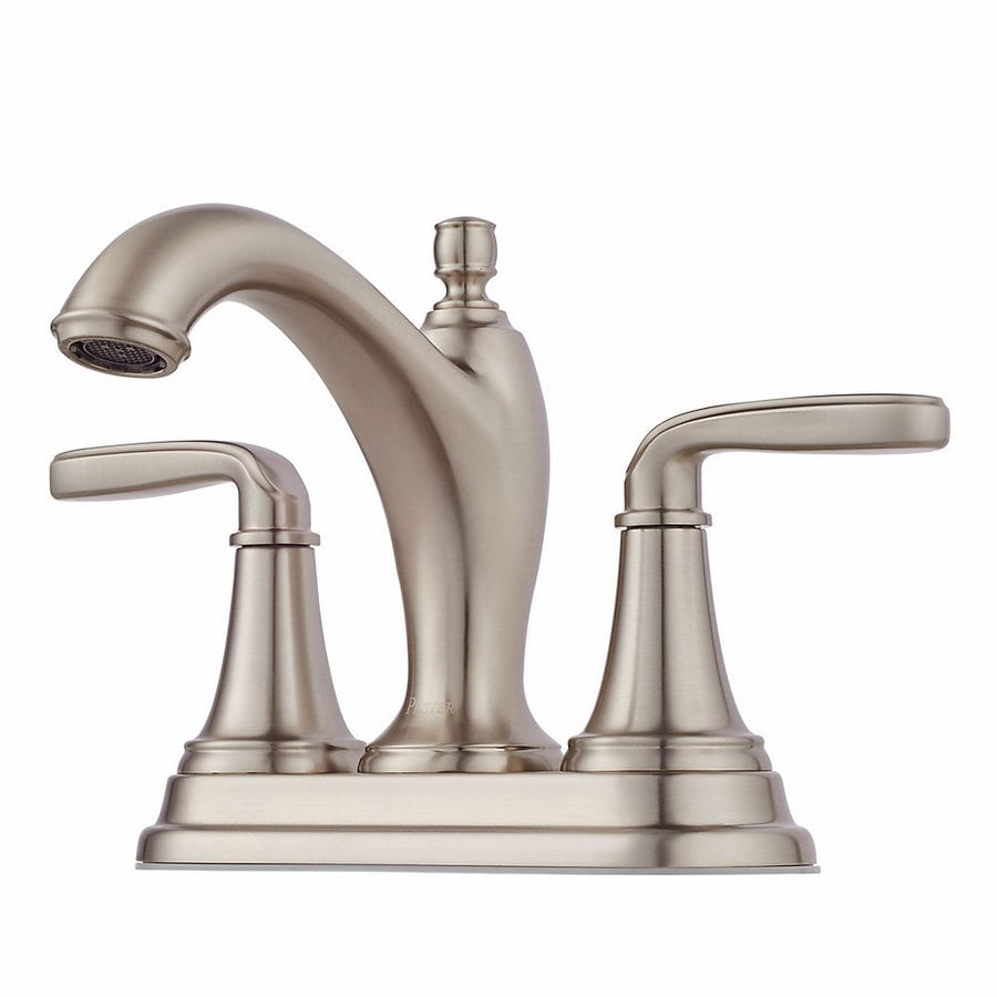 pfister bathroom sink faucets shop pfister northcott brushed nickel 2 handle 4 in 19953