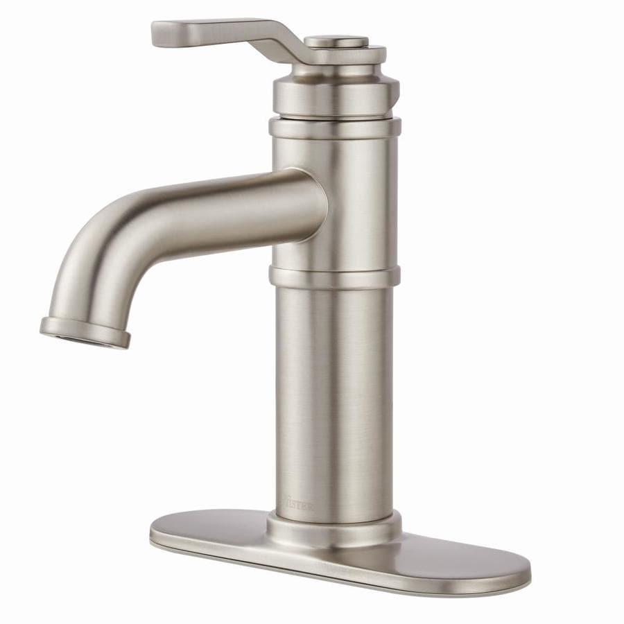Pfister Breckenridge Stainless Steel 2-Handle Single Hole/4-in Centerset WaterSense Bathroom Faucet (Drain Included)