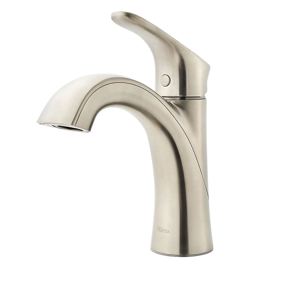Pfister weller brushed nickel 1 handle single hole - Single hole bathroom faucets brushed nickel ...