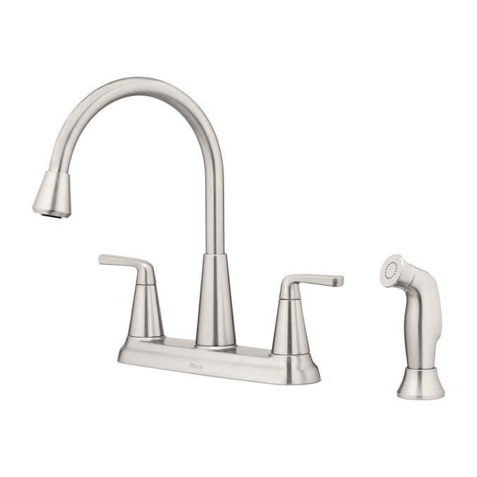 Pfister Allegan Spot Defense Stainless Steel 2 Handle Deck Mount High Arc Handle Kitchen Faucet Deck Plate Included In The Kitchen Faucets Department At Lowes Com