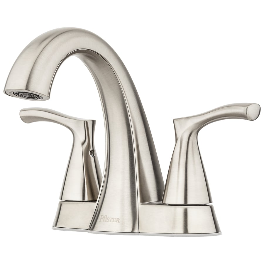 Pfister Masey Brushed Nickel 2-Handle 4-in Centerset WaterSense Bathroom Faucet with Drain