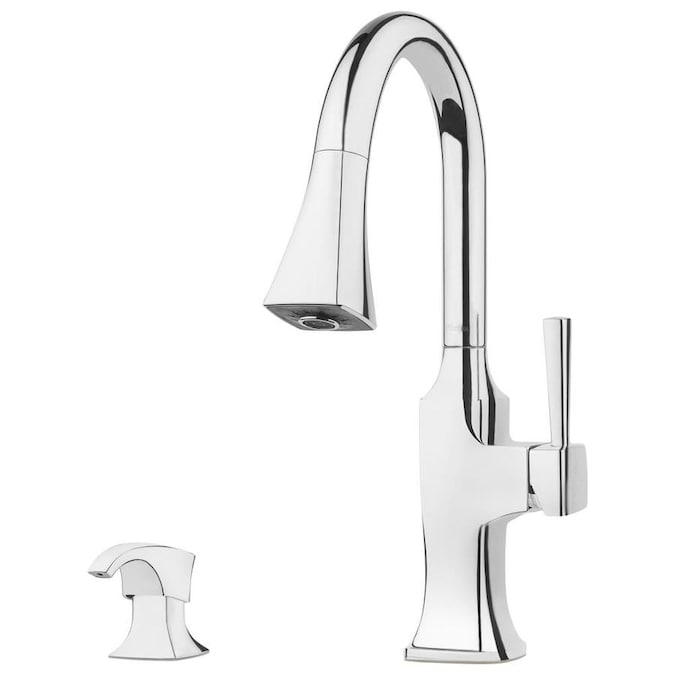 Pfister Kroft Polished Chrome 1 Handle Deck Mount Pull Down Handle Kitchen Faucet Deck Plate Included In The Kitchen Faucets Department At Lowes Com