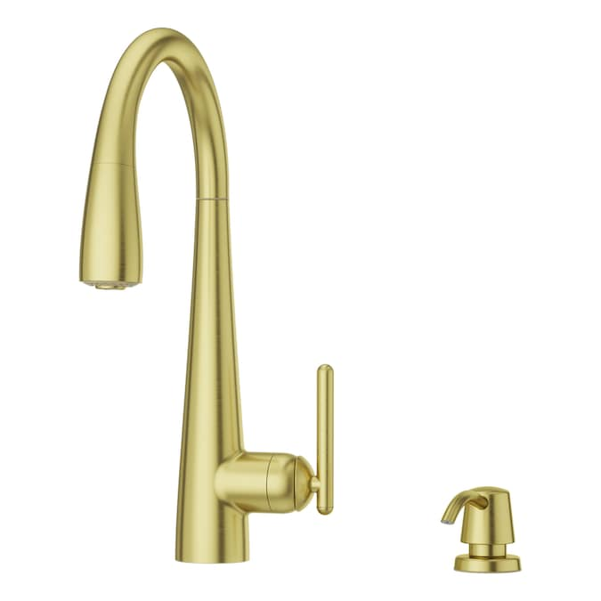 Pfister Lita Brushed Gold 1 Handle Deck Mount Pull Down Handle Kitchen Faucet Deck Plate Included In The Kitchen Faucets Department At Lowes Com