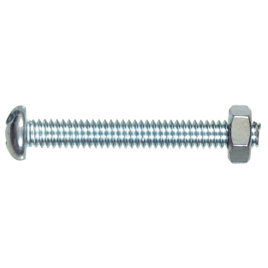 Blue Hawk 6-Count #10- 24 x 1-1/4-in Round-Head Zinc-Plated Slotted-Drive Standard (SAE) Machine Screws