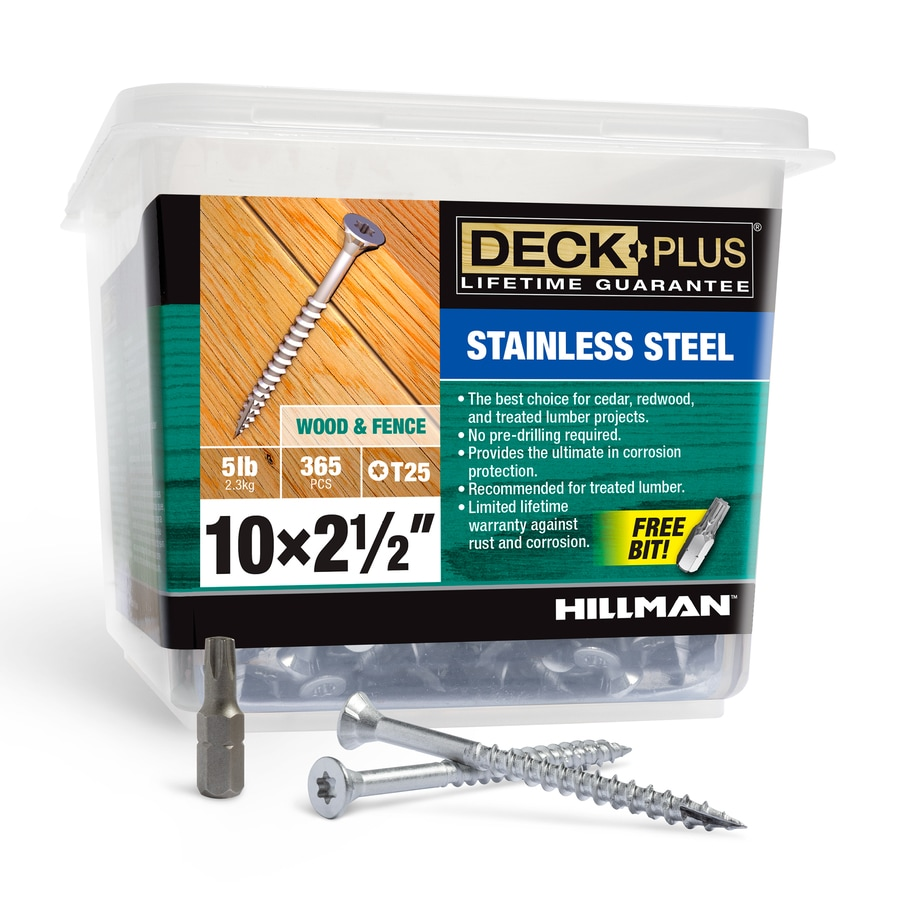 Deck Plus 5-lb Box #10 x 2.5-in Flat-Head Stainless Steel Star-Drive Deck Screws