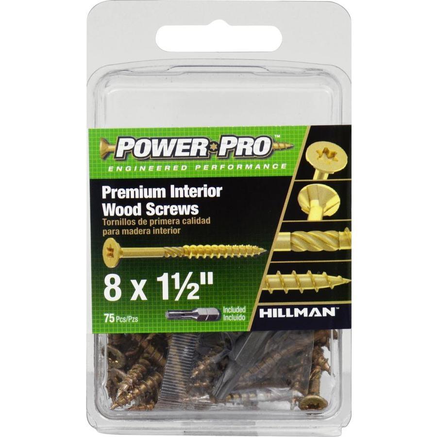 Power Pro 75-Count #8 x 1.5-in Flat-Head Zinc-Plated Self-Drilling Star-Drive Interior Wood Screws
