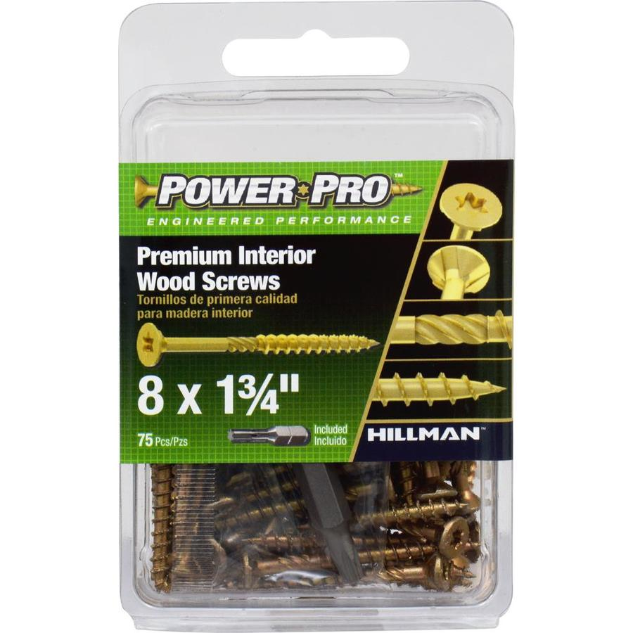 Power Pro 75-Count #8 x 1.75-in Flat-Head Zinc-Plated Self-Drilling Star-Drive Interior Wood Screws